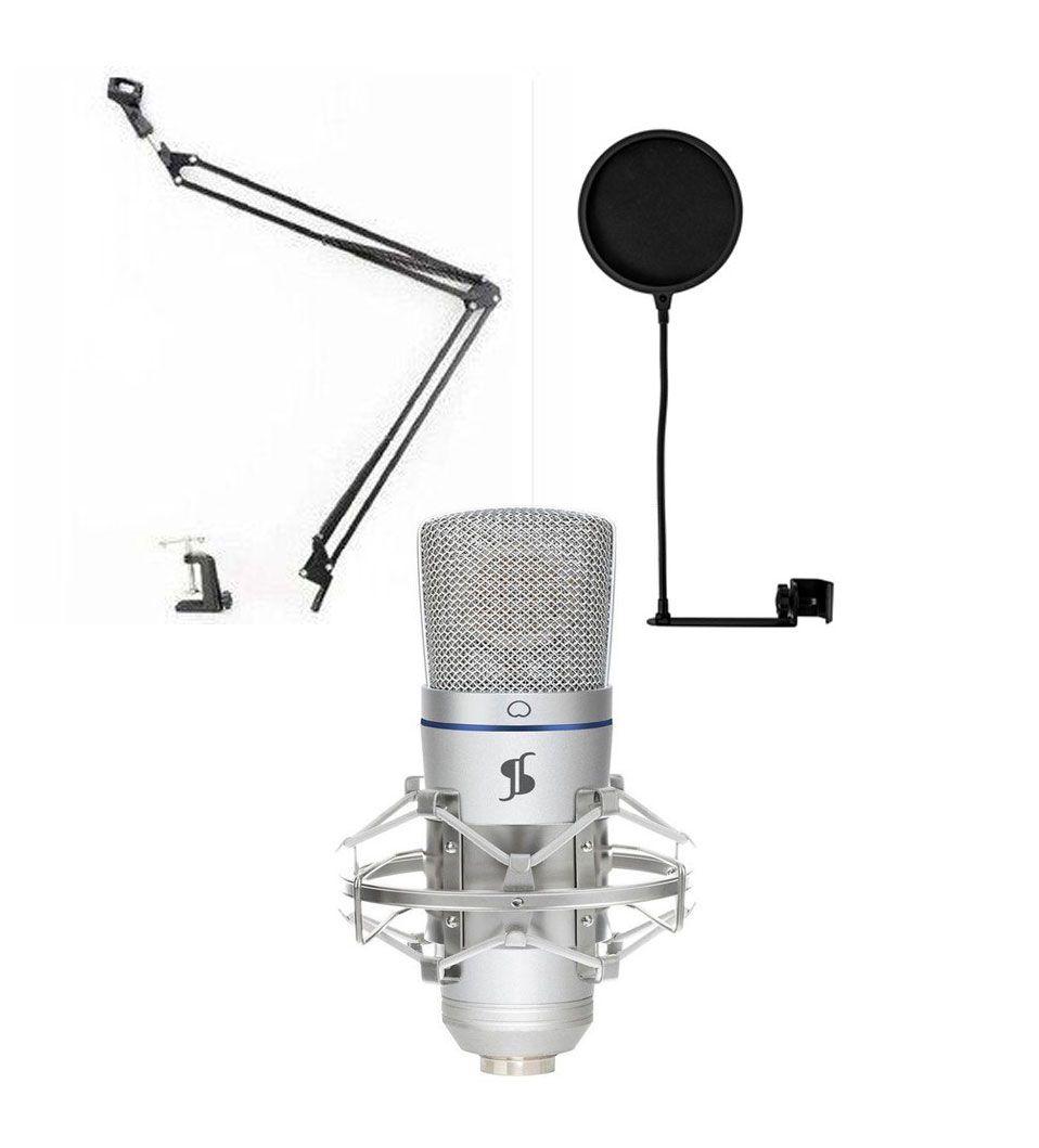 Stagg SUSM50 -  mikrofon studyjny USB + pop filtr + statyw