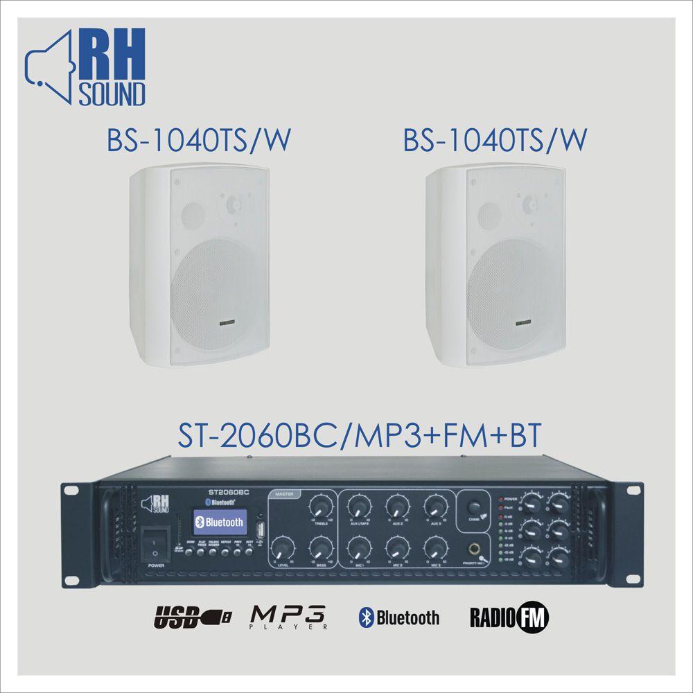 RH SOUND ST-2060BC/MP3+FM+BT + 2x BS-1040TS/W - Zestaw Nagłośnienia naściennego