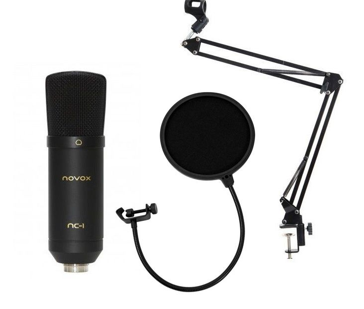 Novox NC-1 black - mikrofon pojemnościowy USB + pop filtr + statyw stołowy
