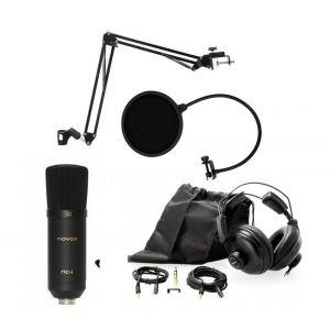 Novox NC-1 black - mikrofon pojemnościowy USB + pop filtr + statyw stołowy + słuchawki