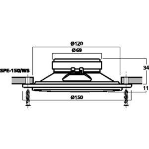 Monacor SPE-150/WS - pełnopasmowy głośnik do montażu wpustowego