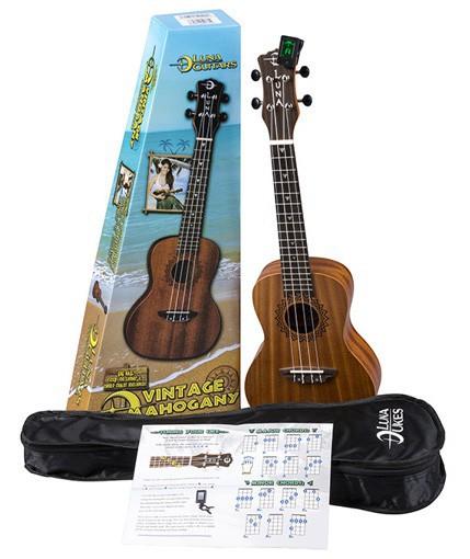 Luna Uke Vintage Mahogany Concert Pack - ukulele koncertowe, zestaw