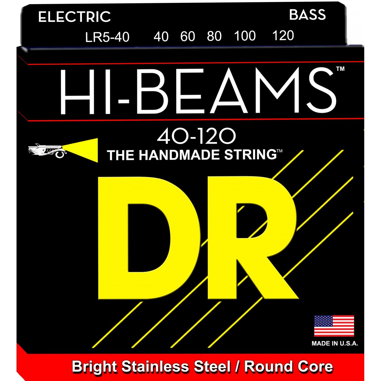 DR HI-BEAM - LR5-40 - struny do gitary basowej, 5-String, Light, .040-.120