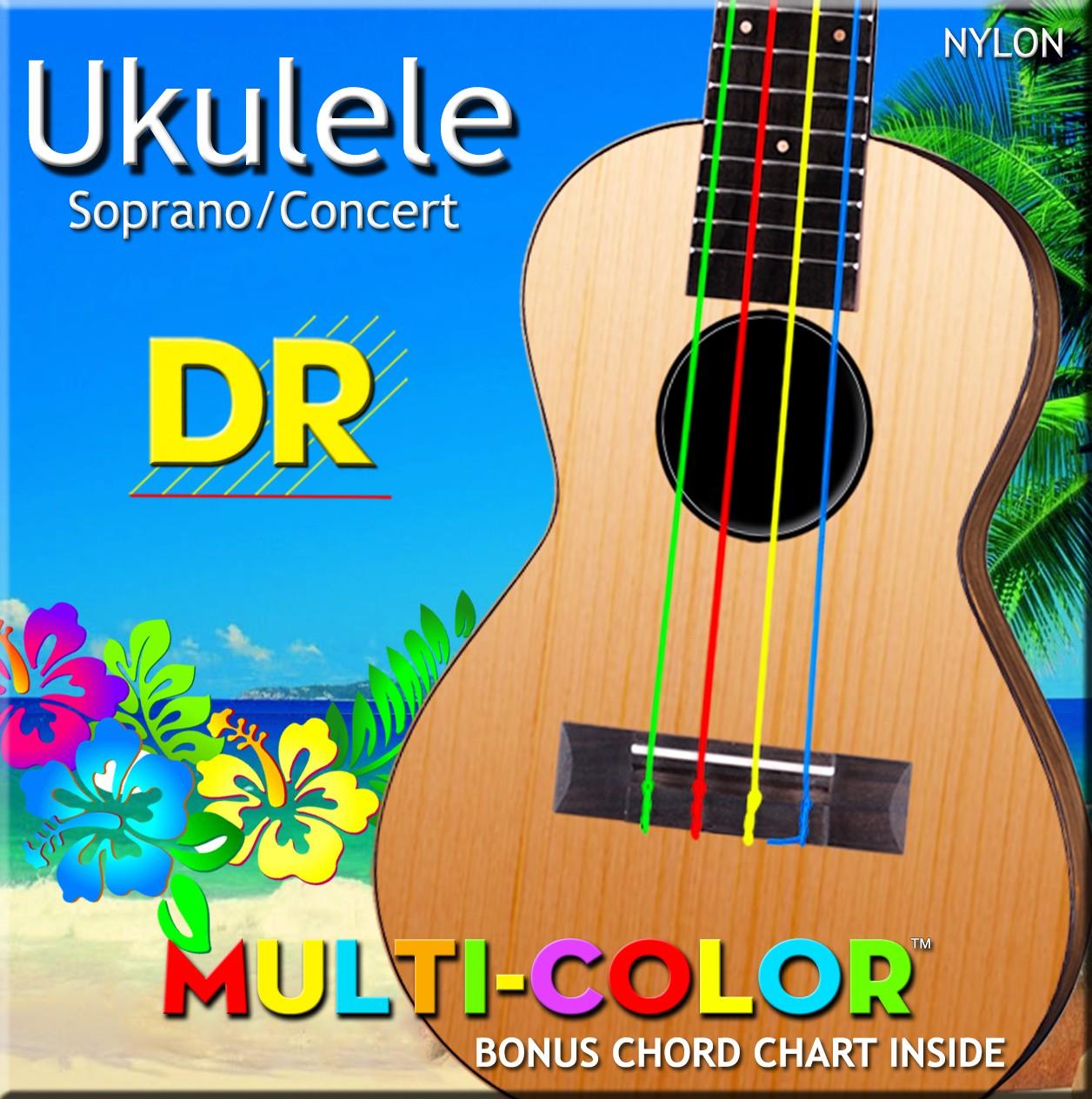 DR MULTI-COLOR - UMCSC - struny do ukulele Set, Sopran & Concert, High-G